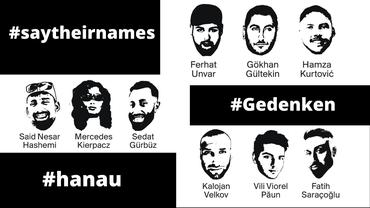 Grafik mit den 9 Ermordeten von Hanau und ihre Namen