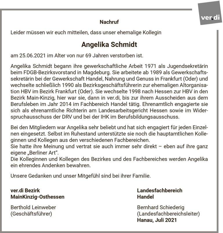 Todesanzeige Angelika Schmidt, ehemalige ver.di Beschäftigte